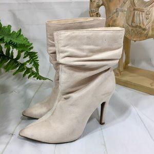 Cream vegan suede fabric heeled midi boot